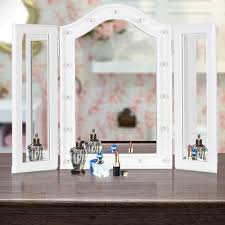 tri fold mirror with lights white ikayaa led lighted trifold stand folding countertop cosmetic