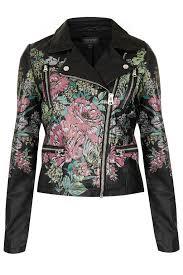 black leather motorcycle jacket black leather look biker jacket with floral design coat jacket