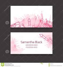 Makeup Business Cards Designs Makeup Artist Business Card Stock Vector Image 56482579