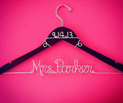 personalized custom wire wedding hanger and by goodlookinghangers