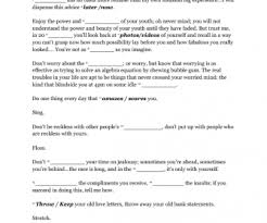 worksheet everybody u0027s free to wear sunscreen by buz luhrmann