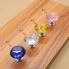 cabinet glass door hardware 10pcs lot diamond shape transparent crystal glass pull handle