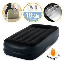 jilong inflatable extra size high raised air bed built in electric