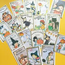vintage halloween stickers set of 18 handmade stickers