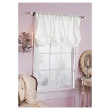 Shabby Chic White Curtains Embroidered Batiste Balloon Window Valance White 60 X63