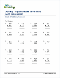 math problems for grade 4 grade 4 addition worksheets free printable k5 learning