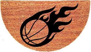 Welcome Doormats Basketball Half Moon Custom Handpainted Sports Welcome Doormat By