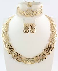 set of gold free shipping wedding gold jewelry sets gold color jewelry sets