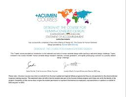statement of accomplishment for design kit the course for human