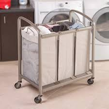 Quad Laundry Hamper by Seville Classics 3 Bag Laundry Sorter