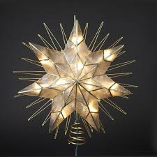 lighted tree topper 14 lighted capiz sunburst 7 point christmas tree topper