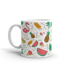 flamingos pineapples and watermelon mug unique mugs witty novelty