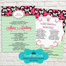 mint and pink butterfly invitations mis quince sweet sixteen