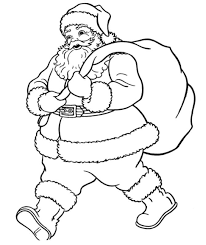 santa giving boy a gift coloring pages printable in giving