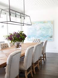 Dining Room Lighting Ideas Beachy Dining Room Beadboard Ceiling Linear Dining Room Light