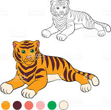 coloring page color me tiger cute tiger smiles stock vector art