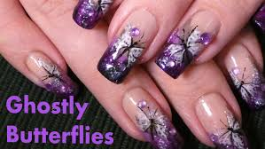 simple ghostly butterflies nail art design tutorial youtube