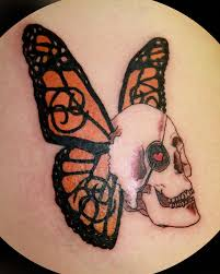 skull with butterfly wings