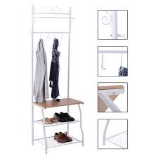 metal coat stand clothes hanging rail shoe storage hat rack hanger