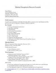 Resume Sample Objectives For Nurses by Mesmerizing Free Medical Receptionist Resume Secretary Sample