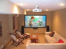 Projector Media Room - decorations small home basement media room ideas brown leather