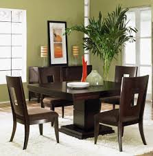dining room dark brown mission combined with asparagus wall