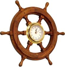 amazon com wood and brass ship wheel clock home u0026 kitchen