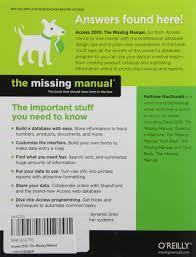 access 2010 the missing manual matthew macdonald database