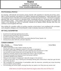 Sample Of Resume For Teaching Job by Primary Teacher Cv Example Forums Learnist Org