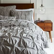 What Is Duvet Covers Queen Organic Cotton Pintuck Duvet Cover Shams Feather Gray West Elm