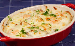 doria cuisine seafood doria recipe baked white sauce poured rice