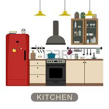 Interiors Of Kitchen Interiors Of Living Room Kitchen Bathroom And Hall Vector