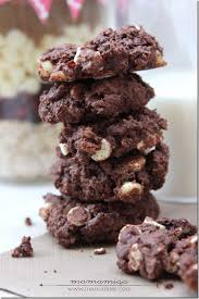 chocolate cherry drop cookies in a jar