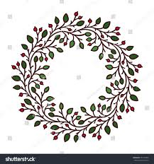 vector illustration frame garland twigs leaves stock vector