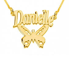 my name jewelry name necklace with butterfly 24k gold plating custom name