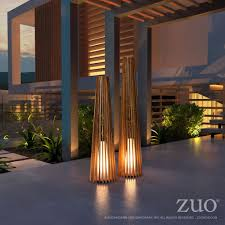 Outdoor Floor Lamps Cosima Large Outdoor Floor Lamp In Natural Teak U0026 Fiberglass Resin