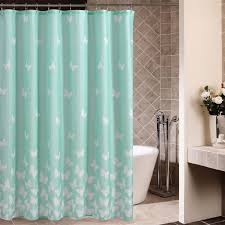 light blue shower curtain with sweet butterfly patterns