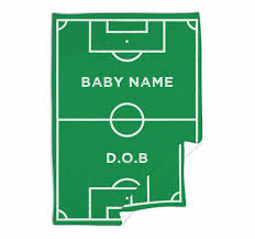 Baby Blanket Comforter Football Soccer Pitch Team Nickname Personalised Baby Blanket