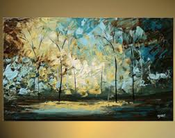 original abstract modern landscape made landscape blooming tree painting original abstract modern