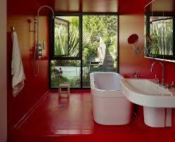red floor paint pleasing dog bathroom decor with bathtub red floor