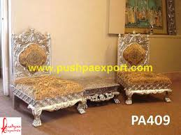 silver low seating carved chair and chowki set pushpa arts
