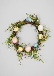 easter wreath easter wreath decoration 23cm green matalan