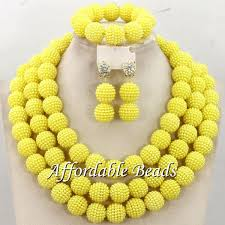 aliexpress necklace set images Yellow nigerian beads set pretty costume jewelry set new handmade jpg