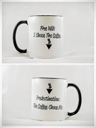mug vs cup free will vs predestination 11 oz black handle mug