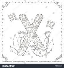 alphabet coloring page capital letter x stock vector 649288198