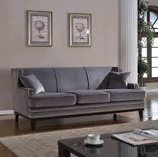 amazon com modern velvet sofa nailhead trim kitchen u0026 dining