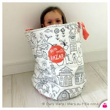 panier rangement chambre bébé img 5804 tissu colorier noir blanc etoile orange corail panier sac