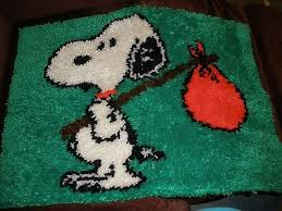 Snoopy Rug Caron Wonderart Rainbow Trout Completed Latch Hook Rug Wall