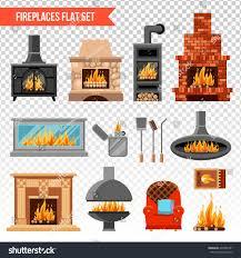 flat set fireplaces various material soft stock vector 497466781