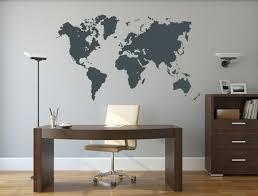 stickers bureau sticker de bureau planisphère afficher le monde dans la couleur de